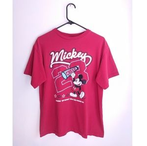 Vintage Disney Mickey Mouse Cheer Red Graphic Tee